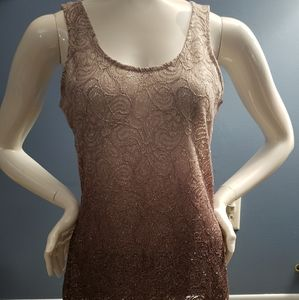 BKE glitter tank top with lace